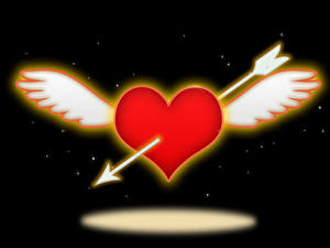 Обои День всех влюблённых На черном фоне Сердечко Крылья Стрелы