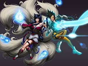 Фотография Overwatch League of Legends Магия Ahri Две Tracer компьютерная игра Фэнтези Девушки