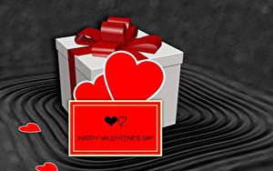 Картинка День всех влюблённых Подарки Бантик Сердечко Английский 3D Графика