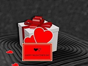 Картинка День святого Валентина Подарков Бант Сердечко Английский 3D Графика