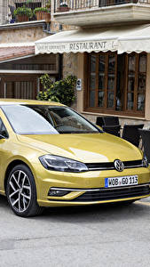 Обои Volkswagen Желтый Металлик 2017 Golf TDI 5-door Worldwide (Typ 5G) Авто