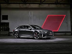 Фотография Audi Серая Металлик Сбоку Универсал RS 6 2020 2019 V8 Twin-Turbo Avant