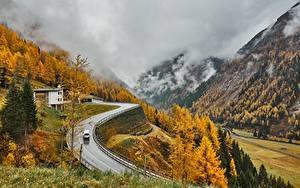 Фотографии Австрия Гора Осенние Дороги Альпы Тумане East Tyrol