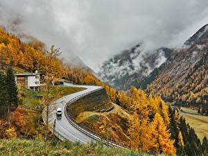 Фотографии Австрия Гора Осенние Дороги Альпы Тумане East Tyrol Природа