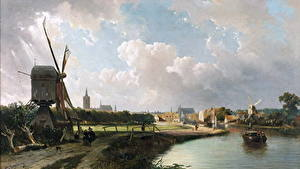 Картинки Картина Мельница Cornelis Springer, View of The Hague