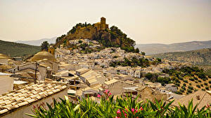 Картинки Испания Здания Скалы Montefrio Города