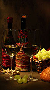 Фотография Натюрморт Вино Виноград Бутылка Бокал Два Пища