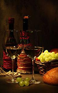 Фотография Натюрморт Вино Виноград Бутылка Бокалы Вдвоем