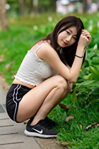 Обои Азиатки Брюнетки Сидящие Шорт Майки Улыбается Смотрит Боке девушка