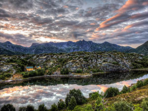 Фотография Норвегия Гора Река Небо Кустов HDR Kabelvaag Nordland