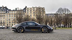 Картинка Porsche Черный Металлик Сбоку 2016 Porsche 911 R  Tribute to Steve McQueen Автомобили