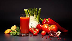 Фотографии Овощи Томаты Перец Сок Гранат Стакана Продукты питания