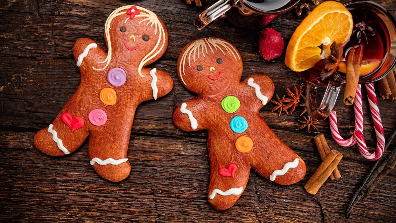 Фото Рождество Бадьян звезда аниса Корица Еда Печенье сладкая еда дизайна 1366x768 Новый год Пища Продукты питания Сладости Дизайн