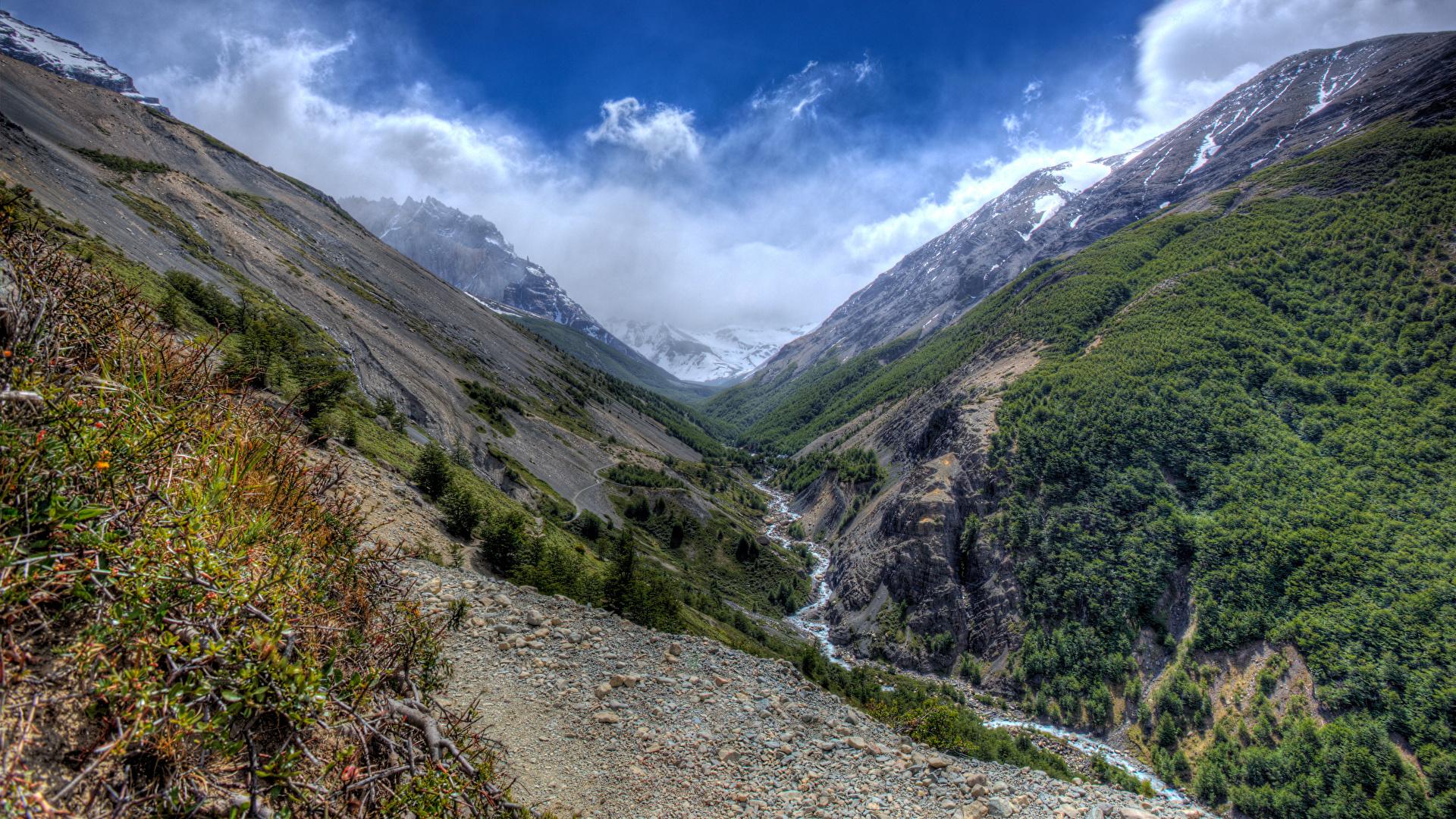 Фотография Чили Torres del Paine National Park Горы ручеек Природа Парки 1920x1080 Ручей