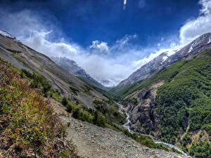 Фотография Чили Парки Горы Ручей Torres del Paine National Park