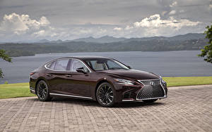 Картинки Lexus Бордовая Металлик 2020 LS 500 Inspiration Series машина