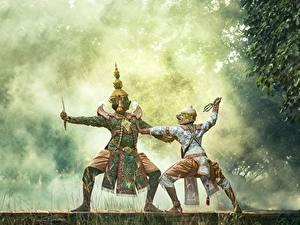 Обои Маски Азиаты Униформа Танцы Сражение Два Тумане Дети