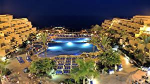 Фотография Испания Курорты Здания Вечер Канарские острова Бассейны Tenerife город