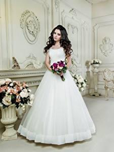 Фотография Букет Брюнетки Невесты Платья Белая