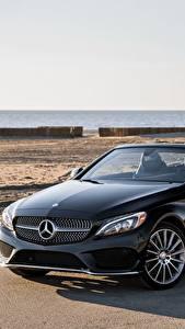Картинка Mercedes-Benz Черный Кабриолет Металлик 2017 C 300 4MATIC AMG Line Авто