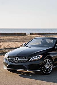 Картинка Mercedes-Benz Черный Кабриолет Металлик 2017 C 300 4MATIC AMG Line
