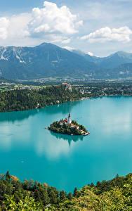 Обои Словения Пейзаж Озеро Остров Горы Bled