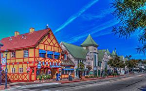 Картинки Штаты Здания Дороги Калифорния Улица HDRI Solvang Города