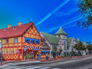 Картинки США Здания Дороги Калифорнии Улица HDR Solvang Города