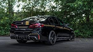 Фотографии БМВ Черная Вид сзади 2018 Biturbo Manhart M5 V8 F90 723 MH5 авто