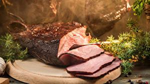 Картинки Мясные продукты Ветчина Нарезка Еда
