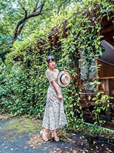 Картинка Азиаты Поза Платье Шляпа Девушки