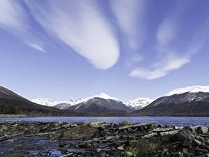 Обои для рабочего стола Горы Озеро Камень Аргентина lake Escondido, Tierra del Fuego island Природа