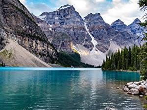 Картинка Канада Парки Гора Озеро Камни Банф Lake Moraine
