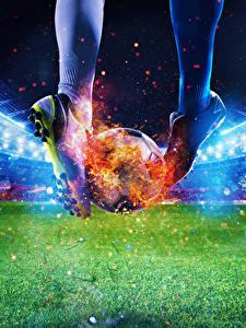 Обои для рабочего стола Футбол Пламя Стадион Ног Мяч Кроссовки Газон Спорт