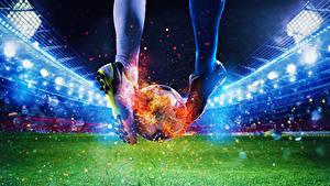 Фотография Футбол Пламя Стадион Ног Мяч Кроссовки Газон Спорт