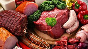 Обои Мясные продукты Ветчина Сосиска Колбаса Перец Овощи