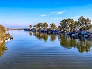 Фотография Турция Побережье Пристань Корабль Катера Залива Anamur Mersin