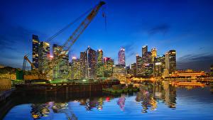 Фотографии Штаты Здания Вечер Пирсы Чикаго город Города