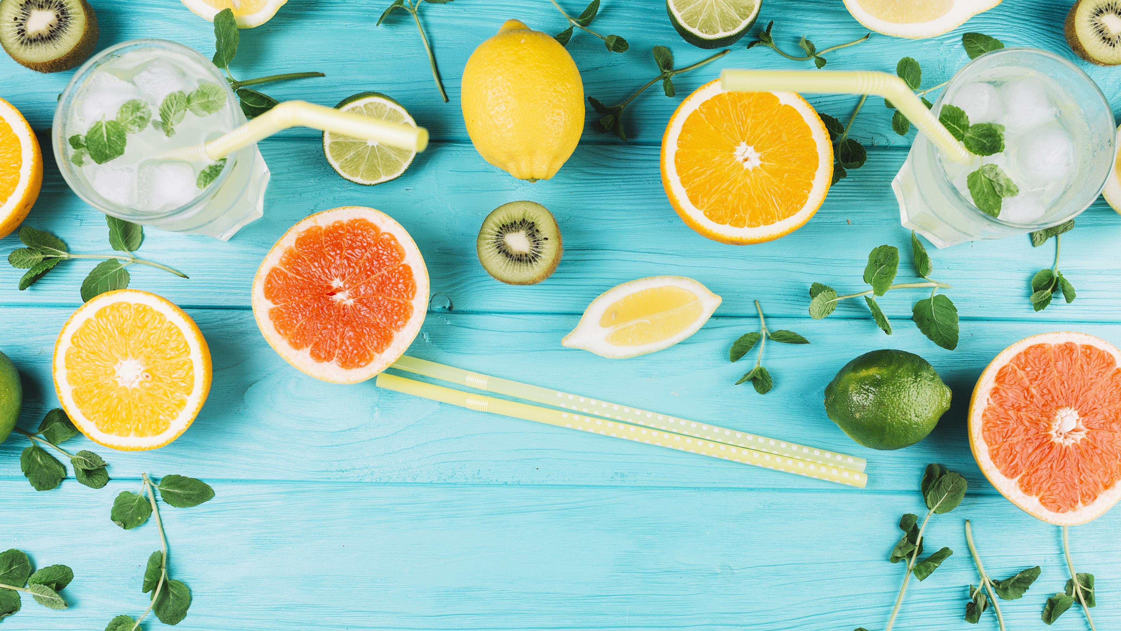 Обои Грейпфрут Лимоны стакане Еда Палочки для еды Цитрусовые Доски 3840x2160 Стакан стакана Пища Продукты питания