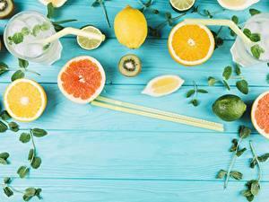 Обои Цитрусовые Лимоны Грейпфрут Палочки для еды Стакан Доски