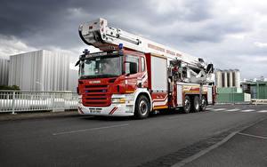 Фотографии Сканиа Грузовики Пожарный автомобиль 2007 P420 8×2 Teleskopmast Bronto Skylift Typ F53 RL