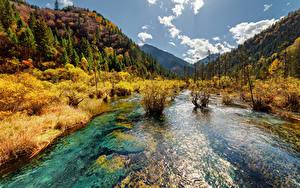 Фото Цзючжайгоу парк Китай Парк Реки Горы Осенние Пейзаж