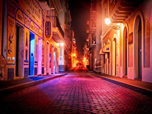 Фотографии США Дома Дороги Улице Уличные фонари Ночные Puerto Rico San Juan город