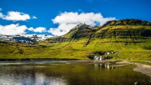 Фотографии Исландия Озеро Гора Snaefellsnesog Hnappadalssysla Природа