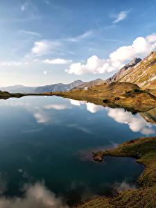 Фотографии Германия Озеро Горы Небо Пейзаж Альпы Природа