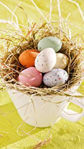 Картинки Праздники Пасха Яйца Чашке Солома