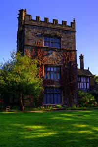 Картинки Англия Здания Дизайна Особняк Газон Деревья Turton Tower Города