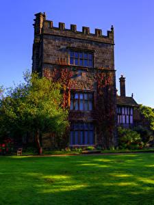 Картинки Англия Здания Дизайна Особняк Газон Деревья Turton Tower