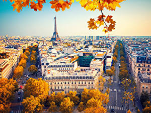 Картинка Франция Дома Дороги Осень Париже Улиц город