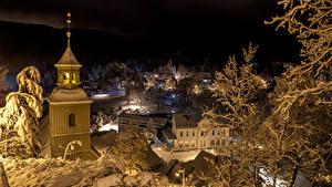 Картинка Германия Зима Дома Вечер Oybin Города